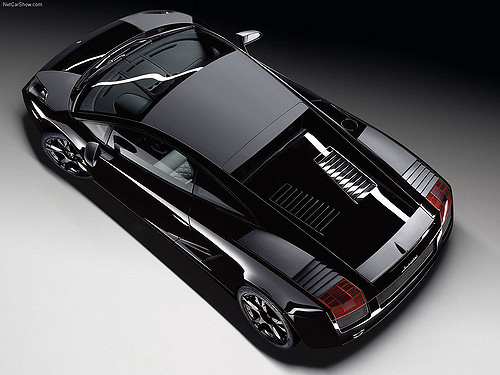 Top down view of a 2007-Lamborghini-Gallardo-Nera showing the matte black roof and select body panels / Press photo courtesy Lamborghini