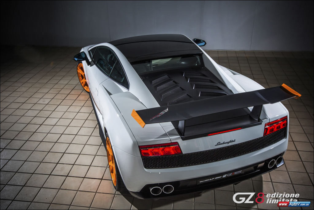 Elevated rear shot of a Lamborghini-Gallardo-LP550-2-GZ8-Edizione-Limitata