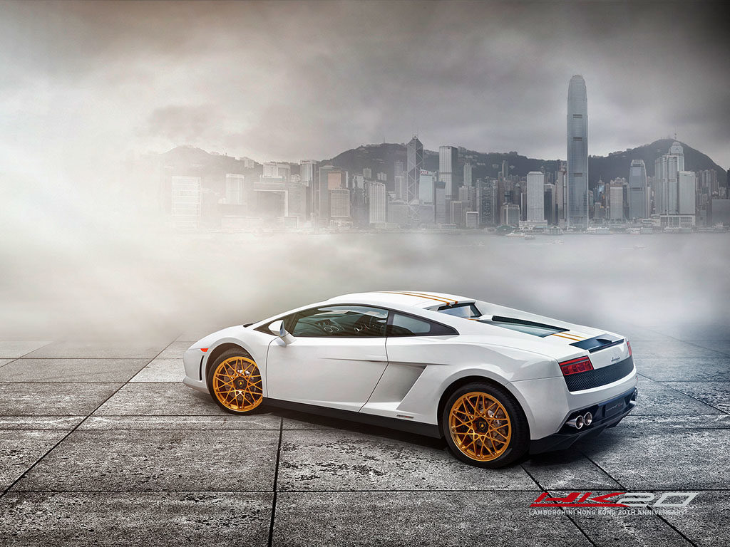Lamborghini Gallardo LP550-2 Hong Kong 20th Anniversary Edition with the Hong Kong skyline as a backdrop