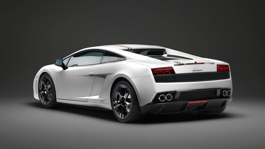 Rear 3/4 angle photo of a Lamborghini Gallardo LP550-2 Tricolore Coupe in white