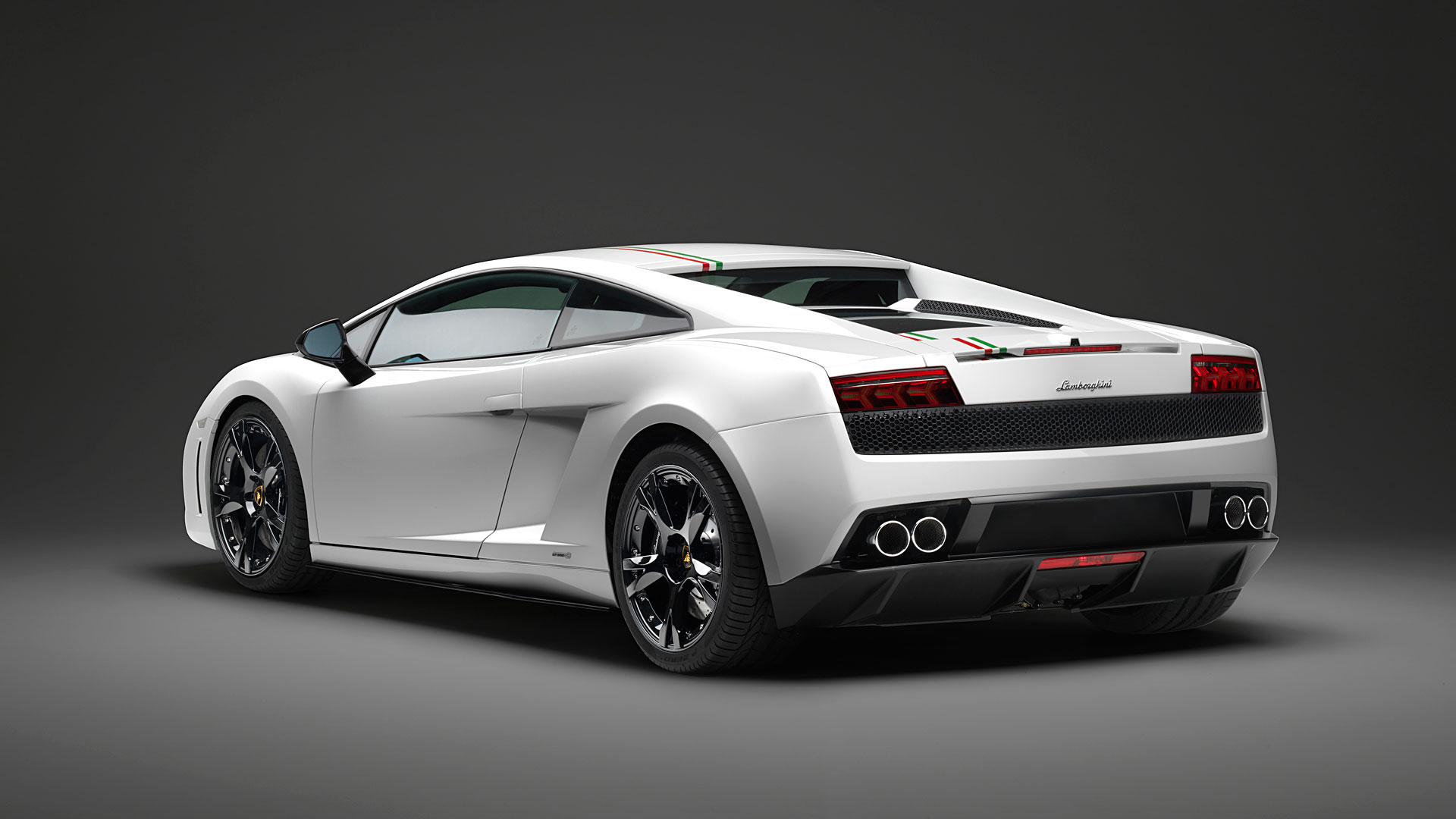 Rear 3/4 Angle Photo Of A Lamborghini Gallardo LP550 2 Tricolore Coupe In