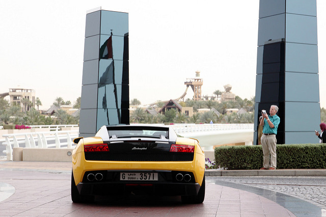 Rear shot of a Lamborghini Gallardo LP560-4 Bicolore in yellow and black at a scenic location in Dubai