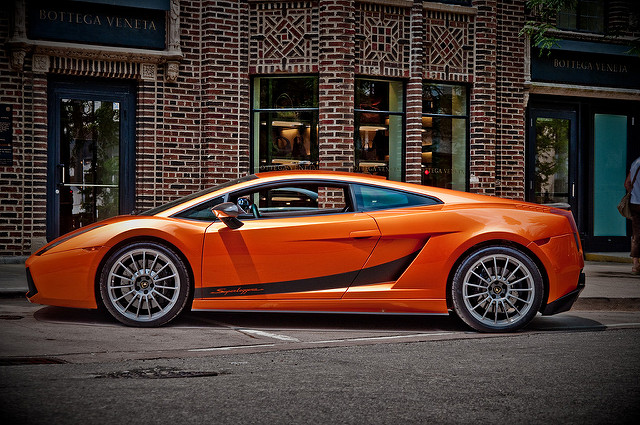 2008 Lamborghini Gallardo Superleggera in orange, side profile shot